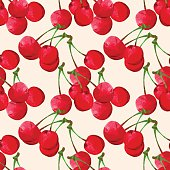istock Seamless pattern with watercolor cherry 538951893