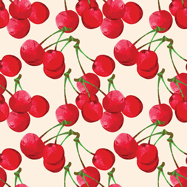 Seamless pattern with watercolor cherry vector art illustration