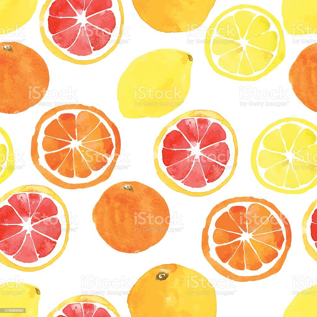 Seamless pattern with watercolor citrus: lemon, orange, grapefru vector art illustration