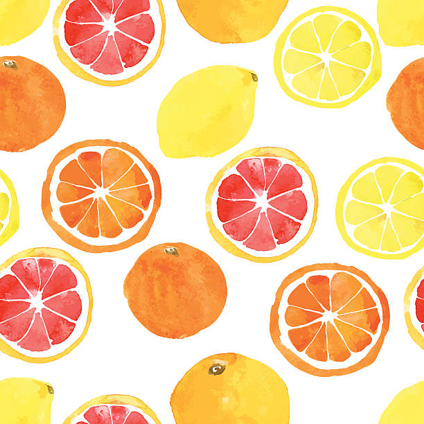 Seamless pattern with watercolor citrus: lemon, orange, grapefru Seamless pattern with vector watercolor citrus: lemon, orange, grapefruit lemon fruit stock illustrations