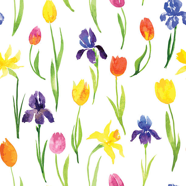 seamless pattern with watercolor flowers vector seamless pattern with watercolor garden flowers, hand drawn vector illustration daffodil stock illustrations
