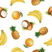 Seamless pattern with watercolor fruit.