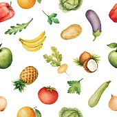 Seamless pattern with watercolor fruits and vegetables.