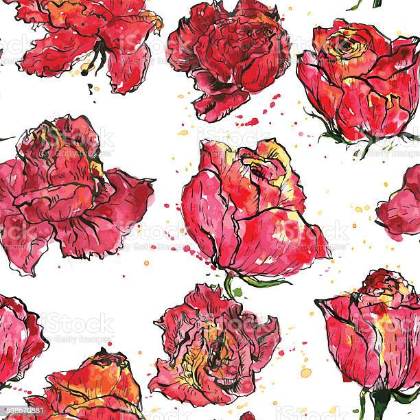 Seamless pattern with watercolor roses vector id538570881?b=1&k=6&m=538570881&s=612x612&h=wc0qdjybqbu0hq7yc9auz  eouxehiuk7r4m0xkn9wg=