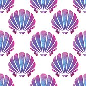 Seamless pattern with watercolor sea shells