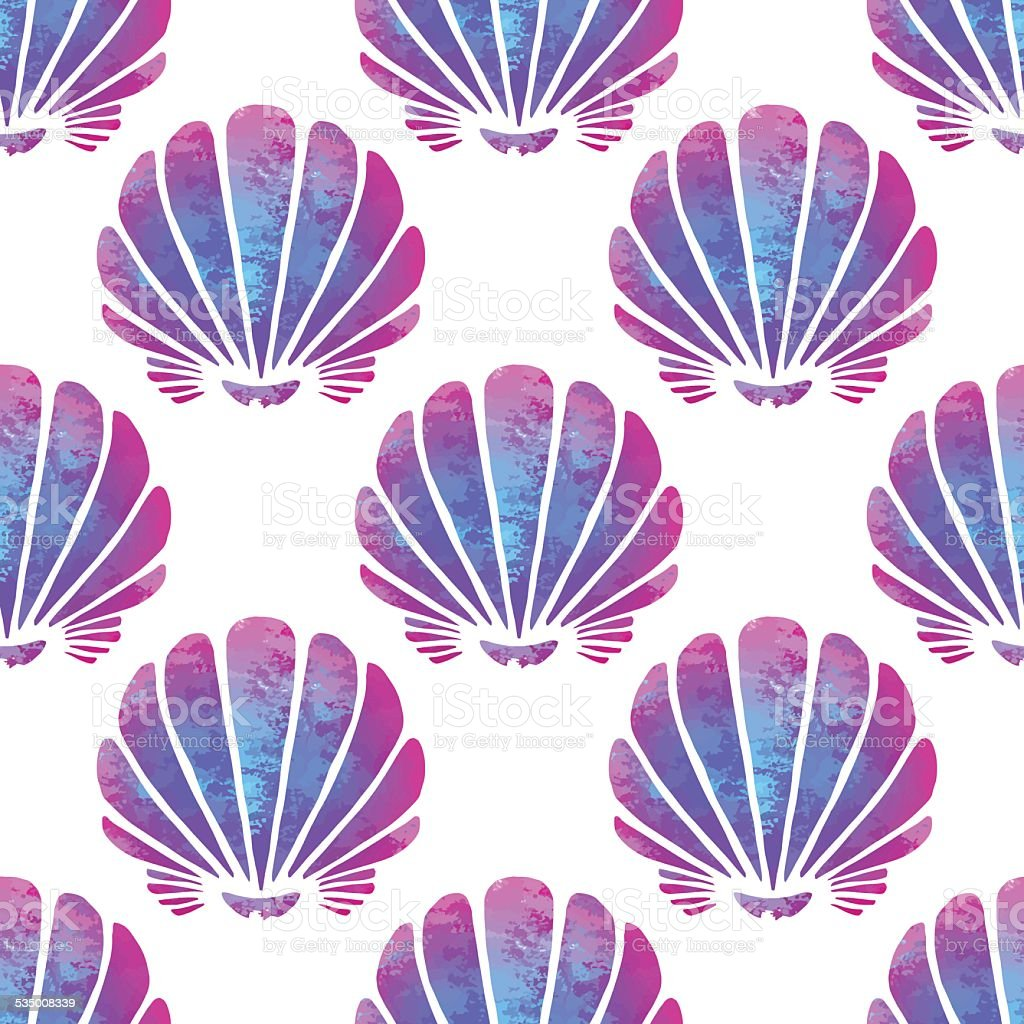 Seamless pattern with watercolor sea shells vector art illustration