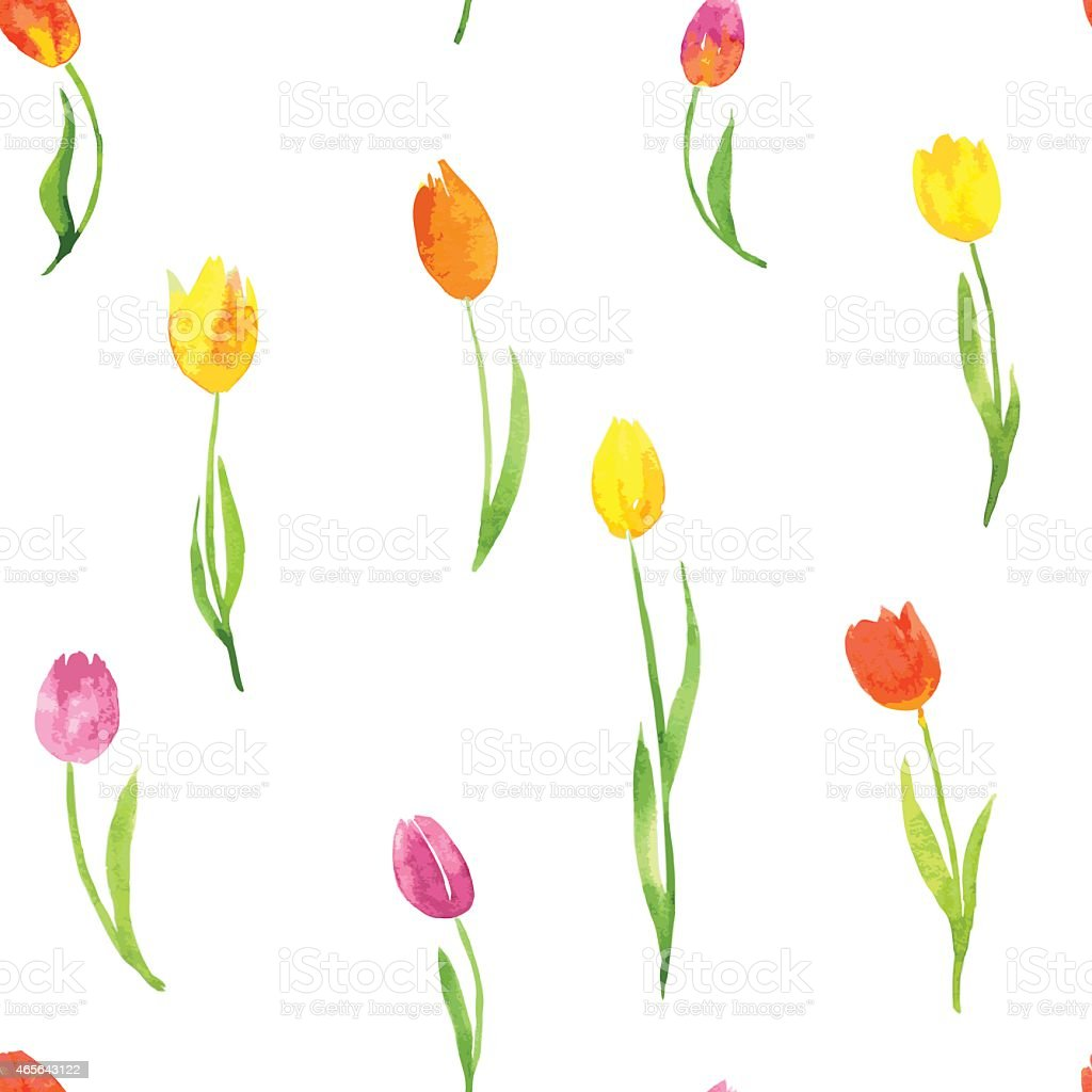 seamless pattern with watercolor tulips stock illustration - download image now