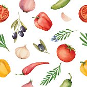 Seamless pattern with watercolor vegetables on white background. Hand drawn food texture with pepper, olive, tomato, garlic, rosemary.Vector illustration.