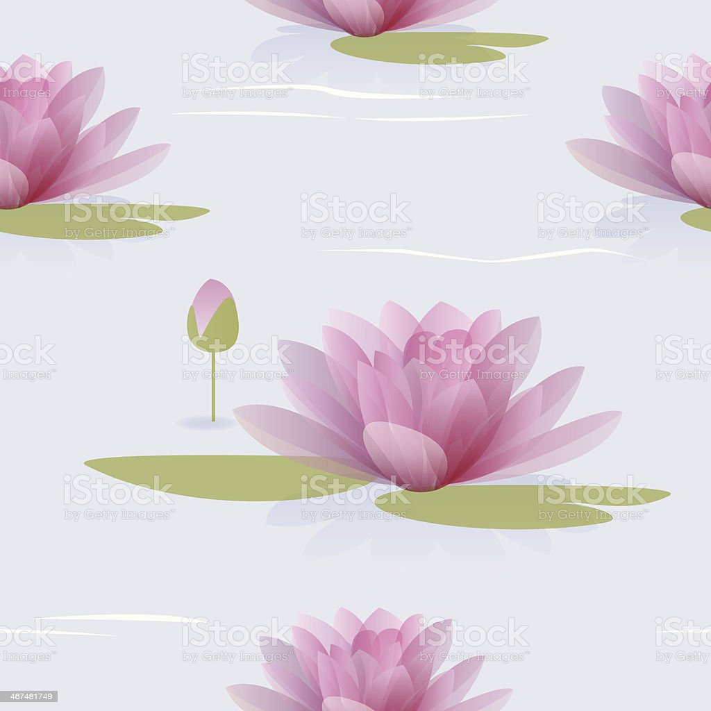 Seamless pattern with waterlilies vector art illustration