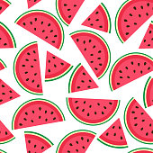 Vector seamless pattern with juicy watermelon slices on white background