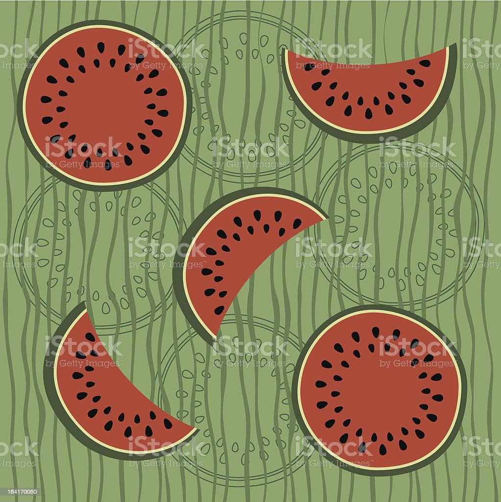 Seamless pattern with water-melon royalty-free stock vector art