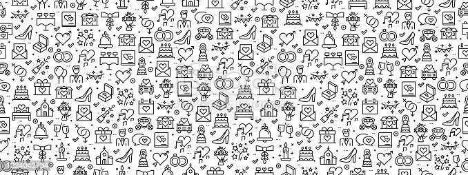 istock Seamless Pattern with Wedding Icons 1224042734