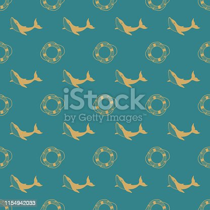 Seamless pattern with whale and lifebuoy. Marine background for packaging. Linear illustration. Hand-drawn vector