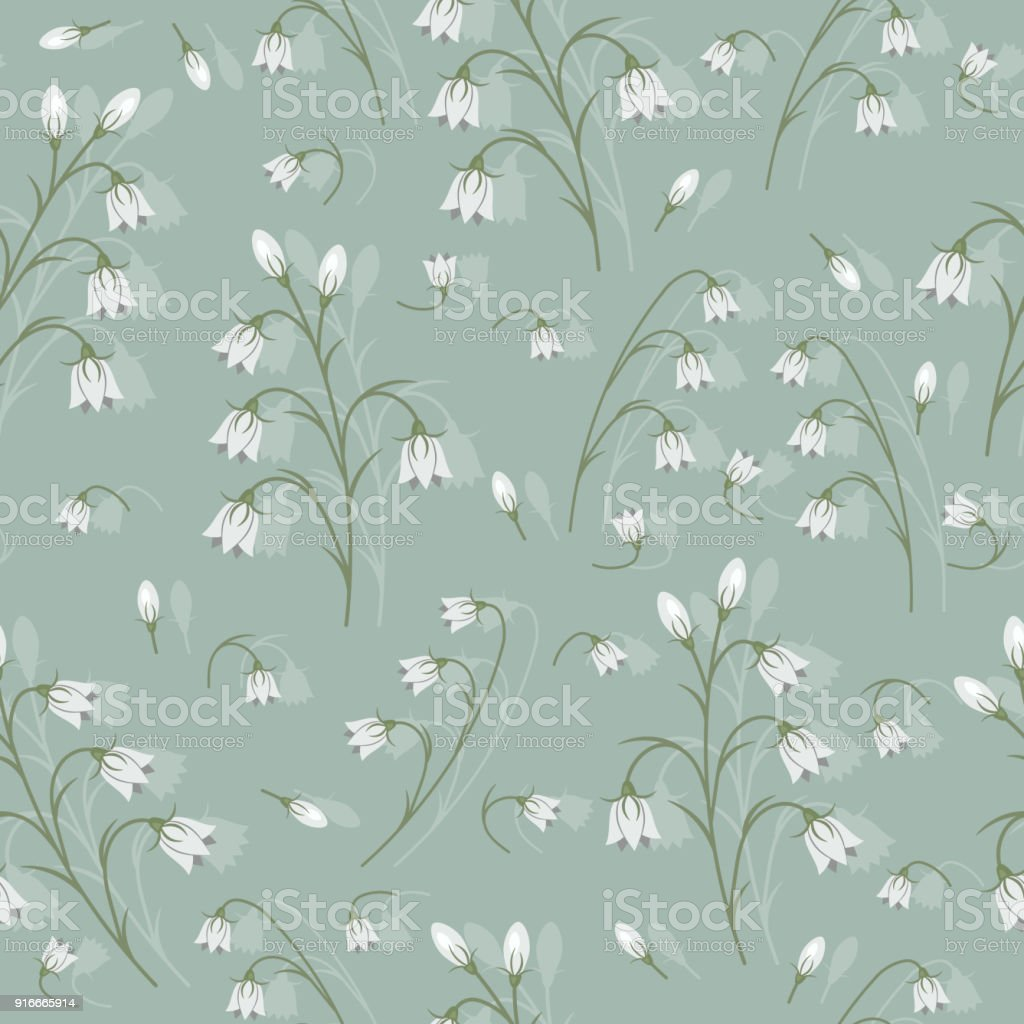 Seamless Pattern With White Bell Flowers On A Gray Background Stock