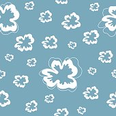 Seamless pattern with white flowers on a blue background. It can be used for packing of gifts, registration of notebooks, diaries, tiles fabrics backgrounds. Vector illustration.