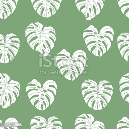 Seamless pattern  with  white inverted  monstera leaves on green background. Hand drawn sketch. Vector illustration.