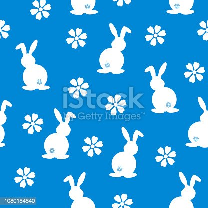 Simple seamless pattern with white rabbit