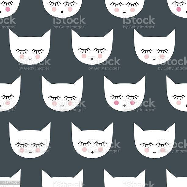 Seamless pattern with white smiling sleeping cats vector id478774272?b=1&k=6&m=478774272&s=612x612&h=psb2 jtxh7isb6w2amgndkwesc2dpuwnqog7gqnd9ce=