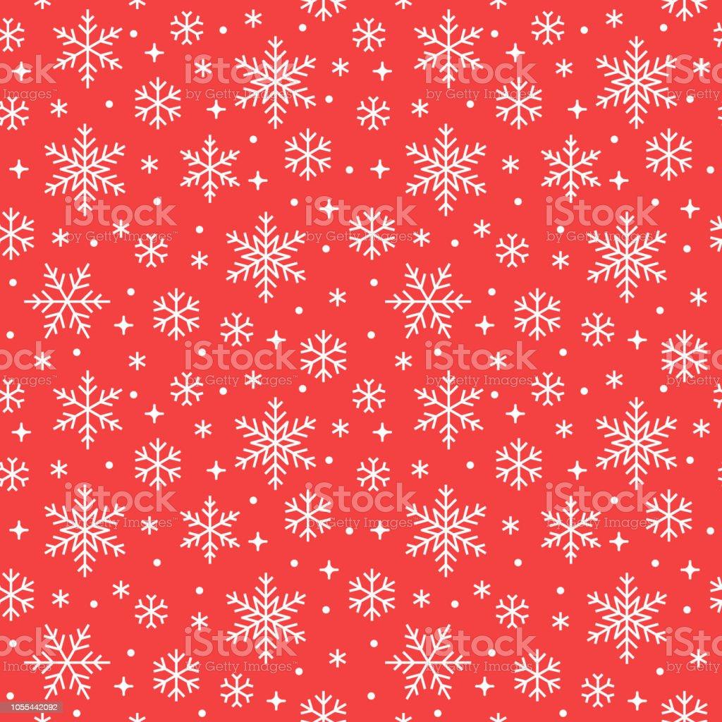 Patrón sin fisuras con los copos de nieve blancas sobre fondo rojo. Los iconos nevando de línea plana, copos de nieve lindo repetición fondo de pantalla. Buen elemento para banner de Navidad, envolver. Adorno tradicional de año nuevo - arte vectorial de Abstracto libre de derechos