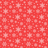 Seamless pattern with white snowflakes on red background. Flat line snowing icons, cute snow flakes repeat wallpaper. Nice element for christmas banner, wrapping. New year traditional ornament.