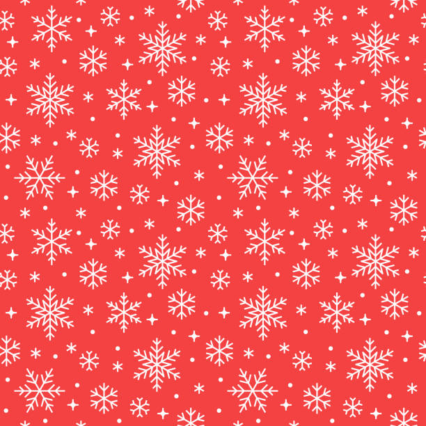Seamless pattern with white snowflakes on red background. Flat line snowing icons, cute snow flakes repeat wallpaper. Nice element for christmas banner, wrapping. New year traditional ornament Seamless pattern with white snowflakes on red background. Flat line snowing icons, cute snow flakes repeat wallpaper. Nice element for christmas banner, wrapping. New year traditional ornament. holiday background stock illustrations