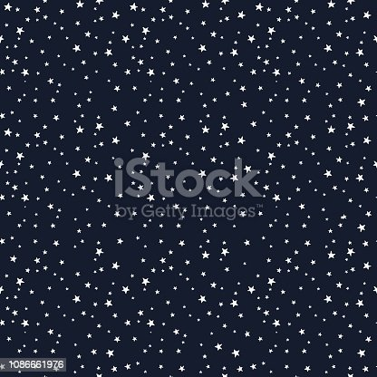 Seamless vector pattern with white stars of various sizes on dark background. Childish background for postcards, wallpaper, papers, textiles, bed linen, tissue 1.1