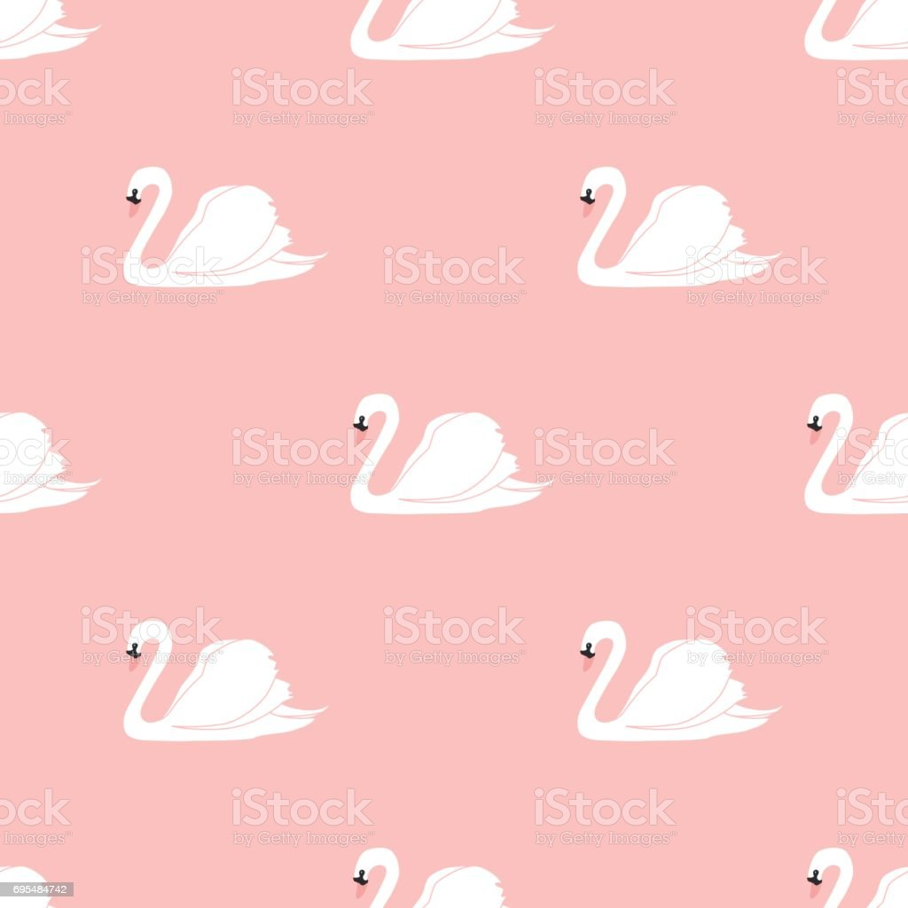 Seamless pattern with white swans. White swans on pink background. vector art illustration