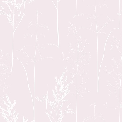 Seamless pattern with wild herbs and grasses.Thin delicate lines silhouettes of different plants. Soft pastel pink colors background.