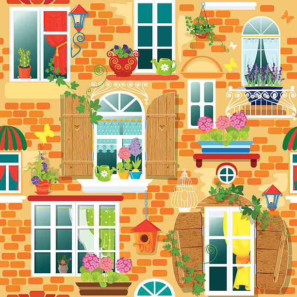 ilustrações de stock, clip art, desenhos animados e ícones de sem costura padrão com windows e flores. verão ou primavera temporada. - lian empty