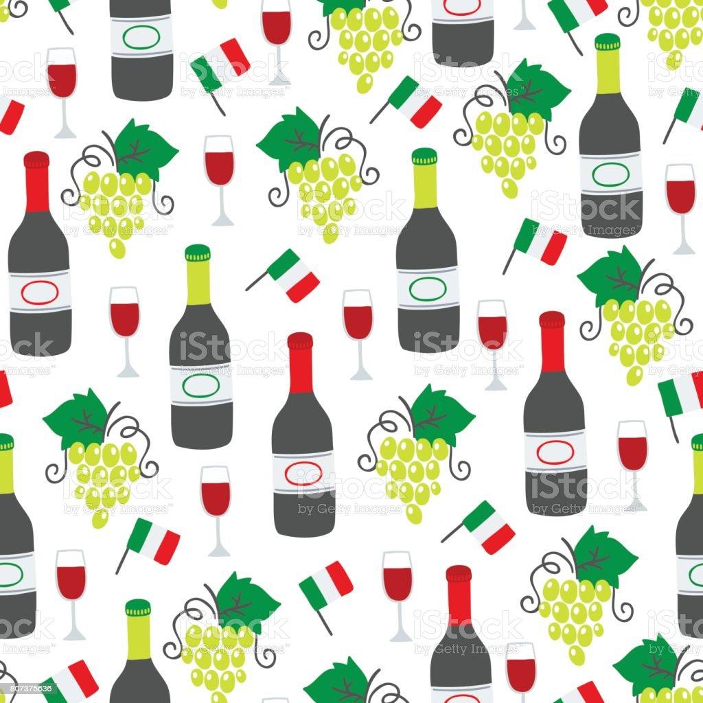 mod u00e8le sans soudure avec bouteille de vin verre raisins et drapeau italien  u2013 vecteurs libres de