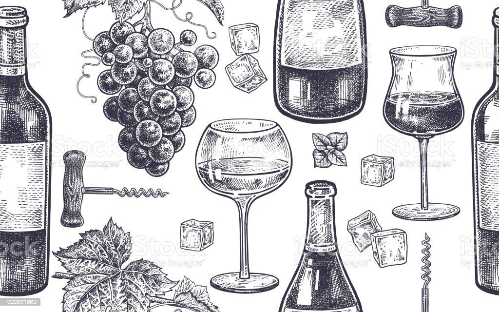 Padrão sem emenda com beber vinho. vetores de padrão sem emenda com beber vinho e mais imagens de alcoolismo royalty-free