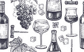 Seamless pattern with wine drinking.