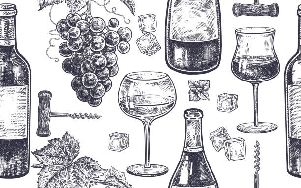 Seamless pattern with wine drinking. Seamless vector pattern of wine drinking. Bottles, berries of grapes, glasses with white and red wine, ice, mint, corkscrew. Black and white. Vector illustration art. Vintage engraving. Hand drawing. wine stock illustrations