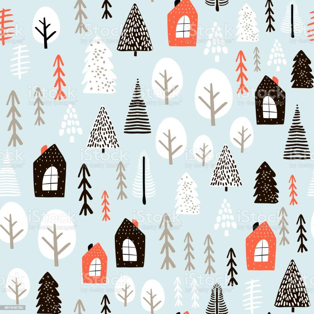 冬の家、木、木、描画されるインク要素とのシームレスなパターン。創造的なクリスマスの背景。ベクトル図 ベクターアートイラスト