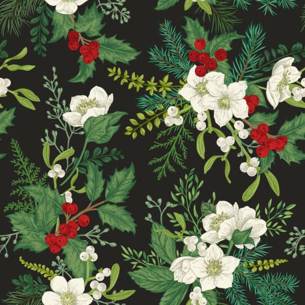 Seamless pattern with winter plants. vector art illustration