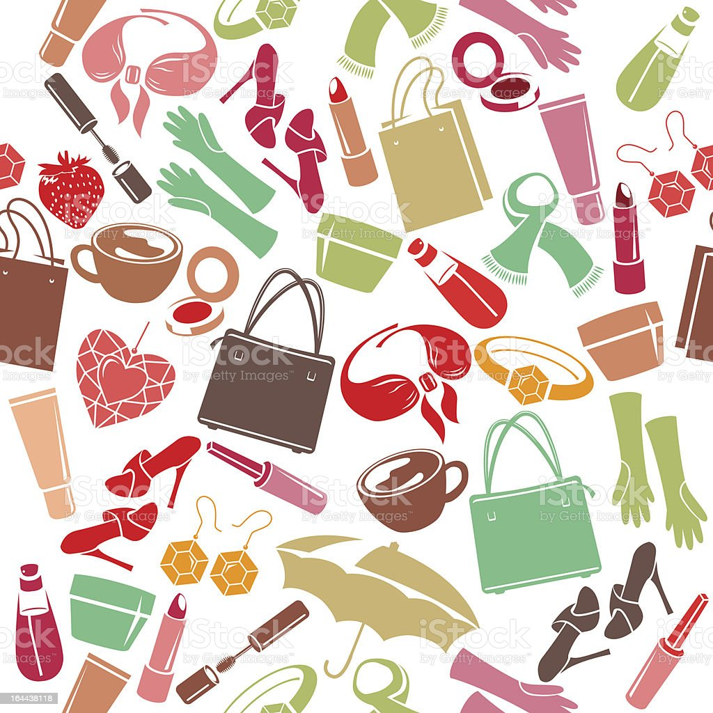 Seamless pattern with woman's things vector art illustration