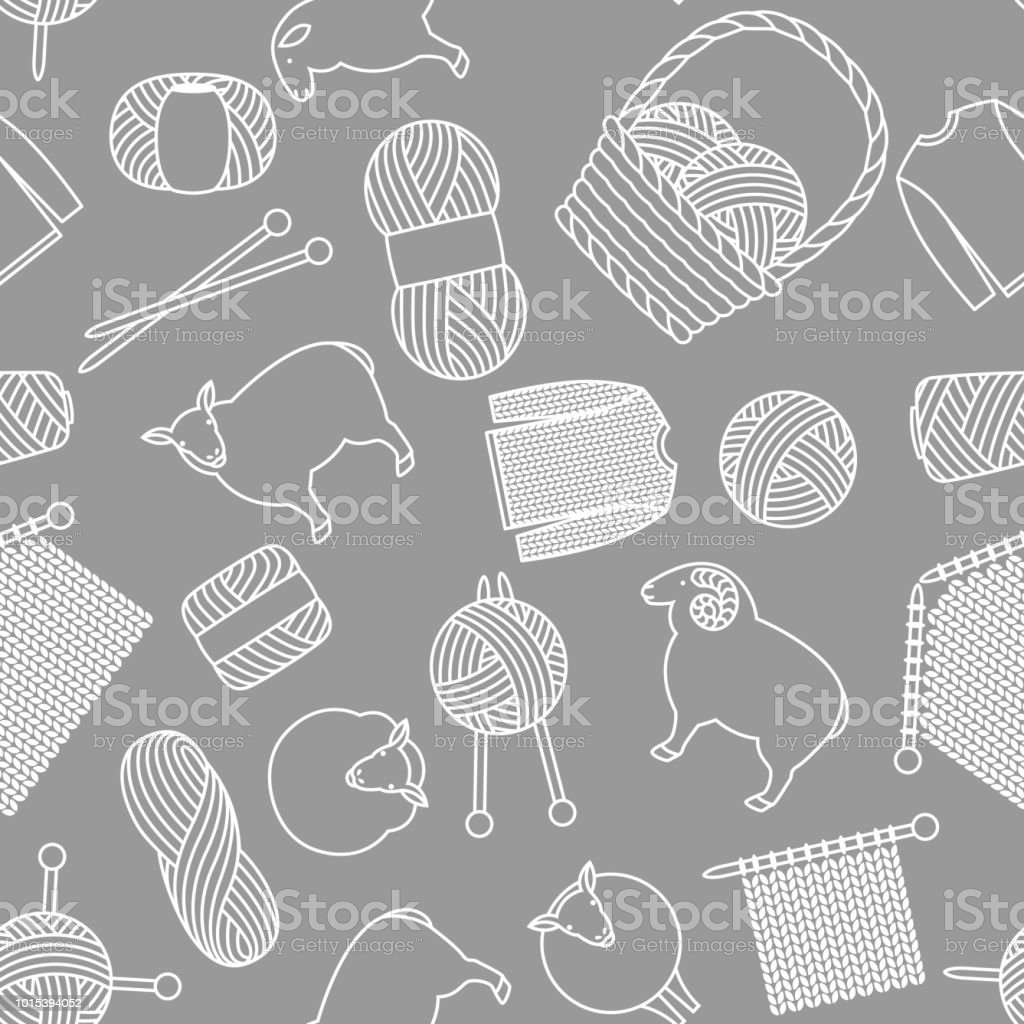 Seamless pattern with wool items. Goods for hand made, knitting or tailor shop vector art illustration