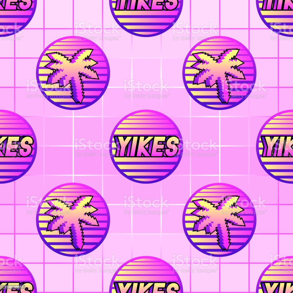 Seamless Pattern With Word Patches Yikes And Palm Trees Pink Grid