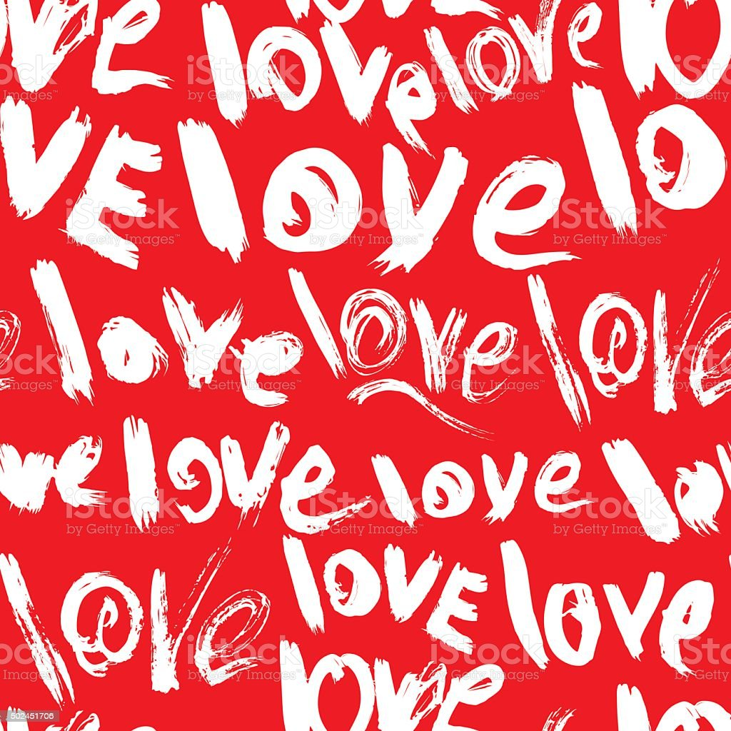 seamless pattern with words love valentines day background stock