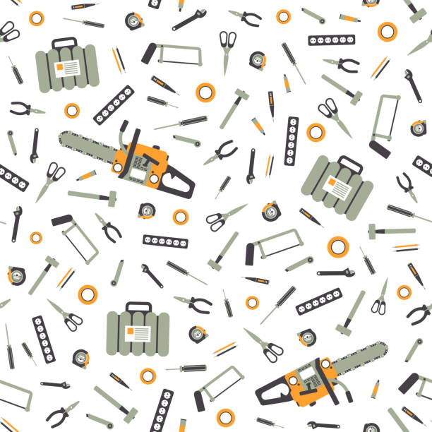 Seamless Pattern with Working Hand Tools for Repair and Construction. Illustration in flat style. vector art illustration