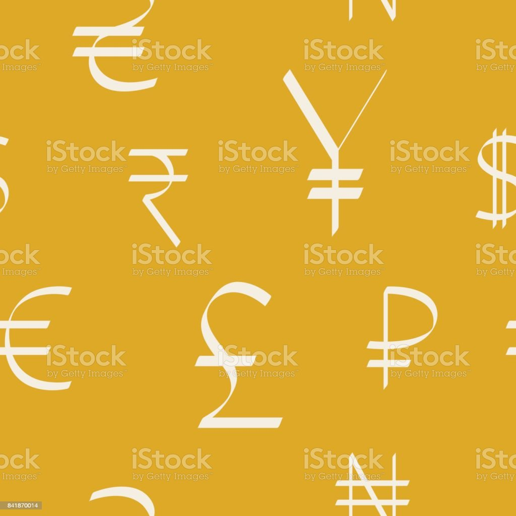 Seamless Pattern With World Currency Symbols Stock Vector Art More