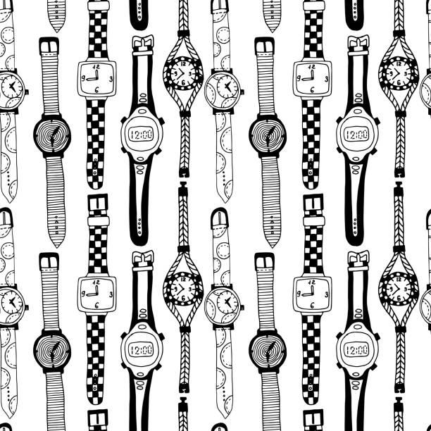 bildbanksillustrationer, clip art samt tecknat material och ikoner med seamless mönster med armbandsur. - armbandsur