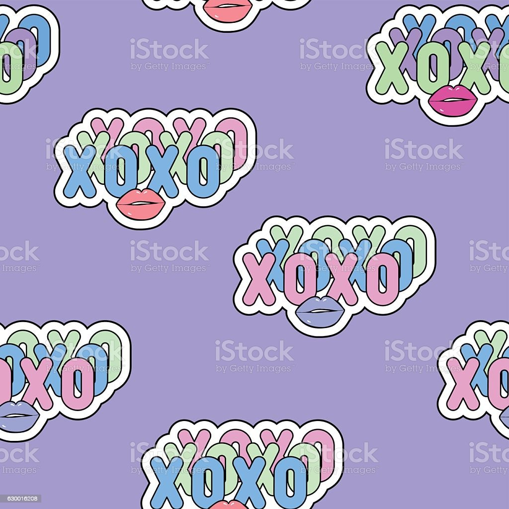 Seamless Pattern With Xoxo Abbreviation Text And Lips Symbol Stock