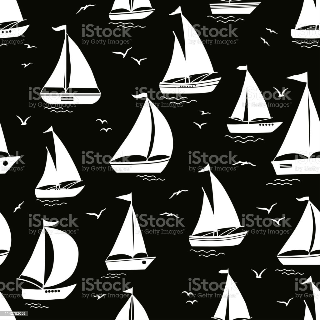 Seamless Pattern With Yacht Silhouette On Waves Stock Vector