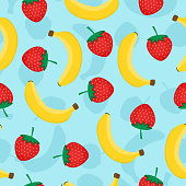 Seamless pattern with yellow bananas and red strawberries. Cute vector background. Fruits illustration on blue background.