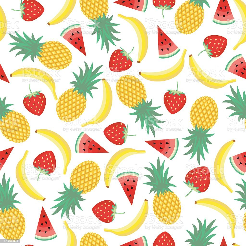 Seamless Pattern With Yellow Bananas Watermelon Pineapples