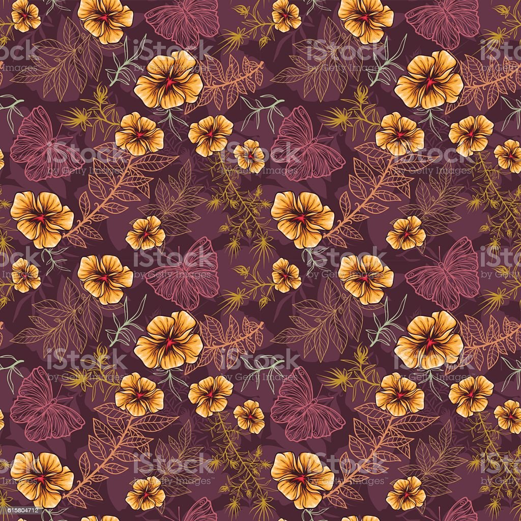 Seamless Pattern With Yellow Flowers Herbs And Butterflies Stock