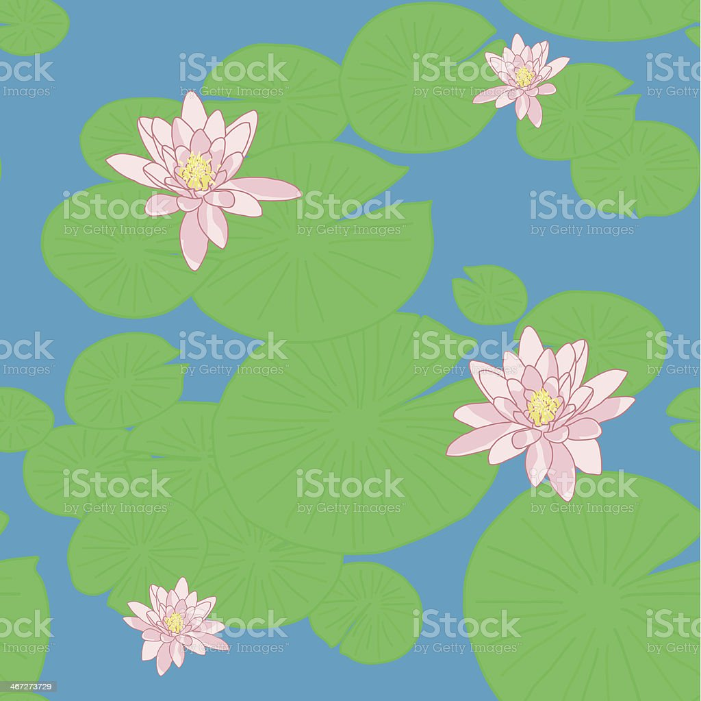 Seamless pattern with yellow  lotuses (or water lilies) vector art illustration