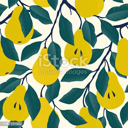 istock Seamless pattern with yellow pear. Fruit background. Vector print for fabric and wallpaper. 1162131002