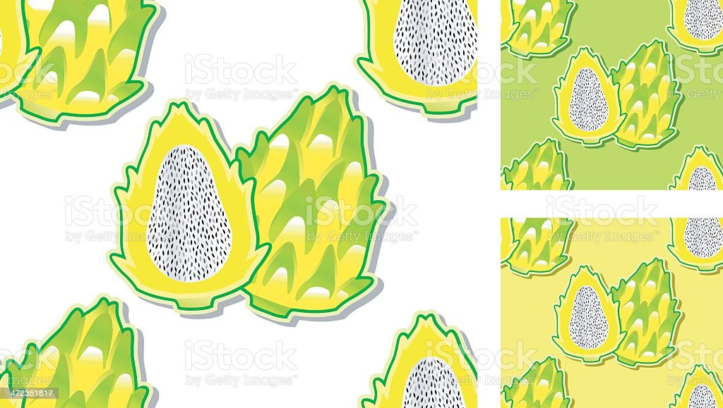 seamless pattern with yellow pitahayas. royalty-free seamless pattern with yellow pitahayas stock vector art & more images of backgrounds